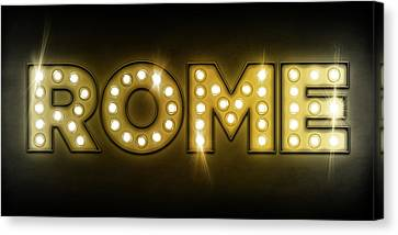 Rome In Lights Canvas Print by Michael Tompsett