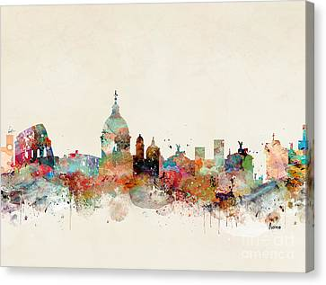 Canvas Print featuring the painting Rome Italy Skyline by Bri B