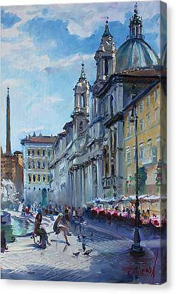 Rome Piazza Navona Canvas Print by Ylli Haruni