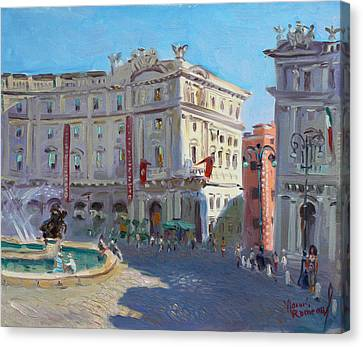 Rome Piazza Republica Canvas Print by Ylli Haruni