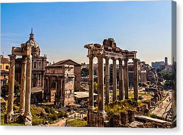 Rome - The Imperial Forums - Hdr Canvas Print by Andrea Mazzocchetti
