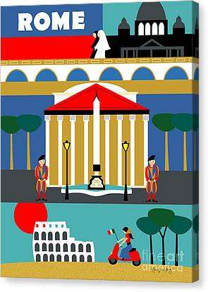 Rome Vertical Scene - Collage Canvas Print by Karen Young
