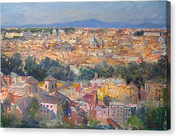 Rome View From Gianicolo Canvas Print by Ylli Haruni