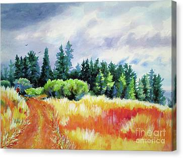 Canvas Print featuring the painting Romp On The Hill by Kathy Braud
