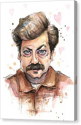 Ron Swanson Funny Love Portrait Canvas Print by Olga Shvartsur