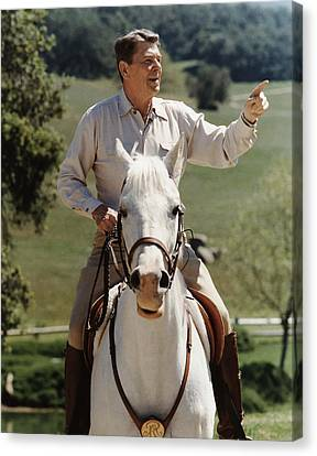 Ronald Reagan On Horseback  Canvas Print