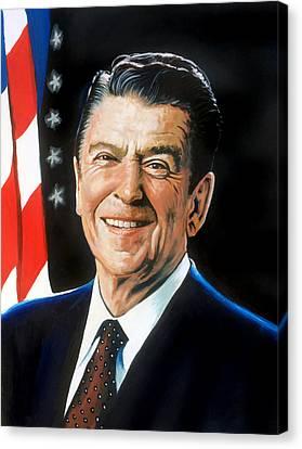 Ronald Reagan Portrait Canvas Print by Robert Korhonen