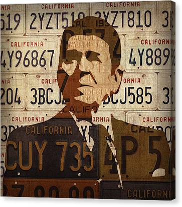 Ronald Reagan Presidential Portrait Made Using Vintage California License Plates Canvas Print by Design Turnpike