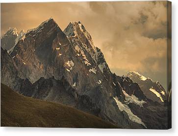 Rondoy Peak 5870m At Sunset Canvas Print by Colin Monteath
