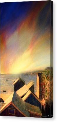 Roof Tops Over Provincetown Harbor Canvas Print by Mike Massengale