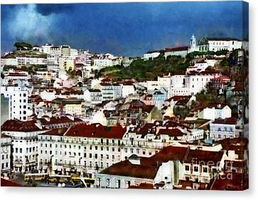 Canvas Print featuring the photograph Roofs Of Lisbon by Dariusz Gudowicz