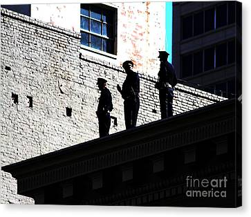 Rooftop Cops Canvas Print by Wingsdomain Art and Photography