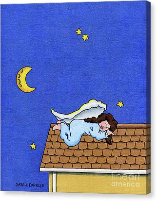 Rooftop Sleeper Canvas Print by Sarah Batalka