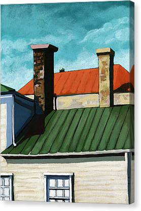 Rooftops City Houses Painting Canvas Print