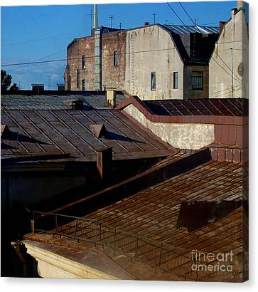 Canvas Print featuring the photograph Rooftops From The Sauna by Robert D McBain