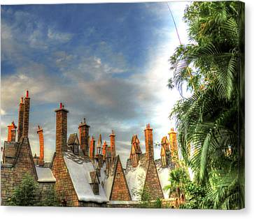 Canvas Print featuring the photograph rooftops Hogsmeade by Tom Prendergast