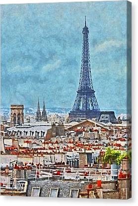 Rooftops In Paris And The Eiffel Tower Canvas Print