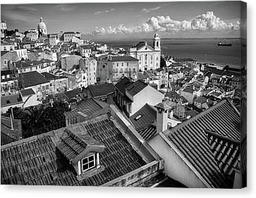 Rooftops Of Alfama In Lisbon Canvas Print by Carlos Caetano