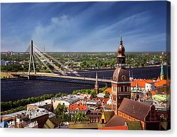 Rooftops Of Riga  Canvas Print