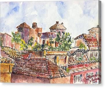 Rooftops Of Rome Canvas Print by Albert Fendig