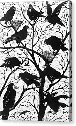 Flock Of Birds Canvas Print - Rooks by Nat Morley