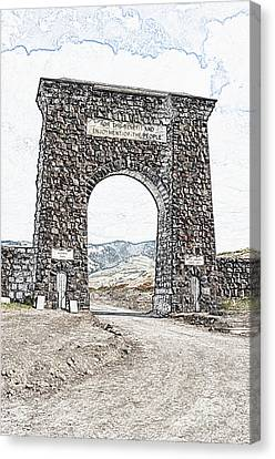 Roosevelt Arch 1903 Gate Old Time Dirt Road Yellowstone National Park Colored Pencil Digital Art Canvas Print