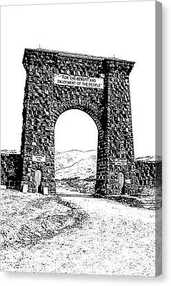 Roosevelt Arch 1903 Gate Old Time Dirt Road Yellowstone National Park Stamp Digital Art Canvas Print