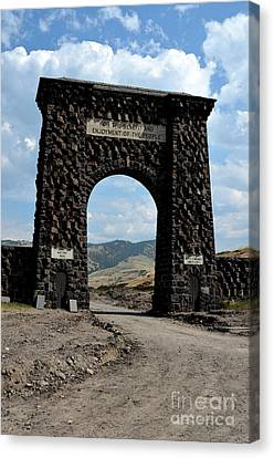 Roosevelt Arch 1903 Gate Old Time Dirt Road Yellowstone National Park Watercolor Digital Art Canvas Print