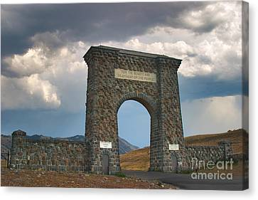 Roosevelt Arch -- Welcome To Yellowstone National Park Canvas Print by Charles Kozierok