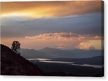 Roosevelt Lake At Sunset Canvas Print by Dave Dilli
