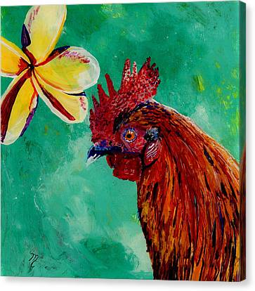 Rooster And Plumeria Canvas Print by Marionette Taboniar