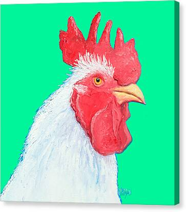 Rooster Art On Green Background Canvas Print