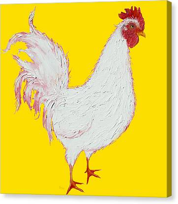 Rooster Art On Yellow Background Canvas Print