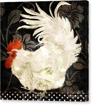 Rooster Canvas Print - Rooster Damask Dark by Mindy Sommers