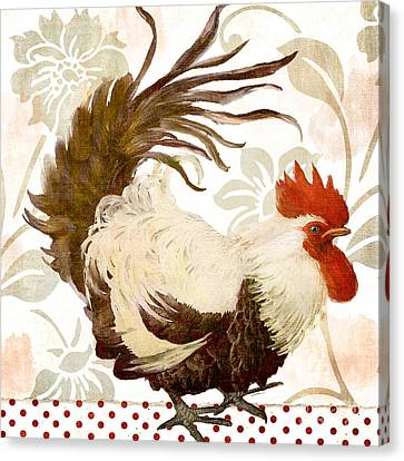 Cockerel Canvas Print - Rooster Damask Light by Mindy Sommers