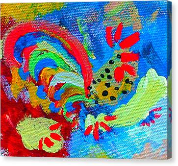 Rooster In The Sky From The Fairy Queen Canvas Print by Angela Annas