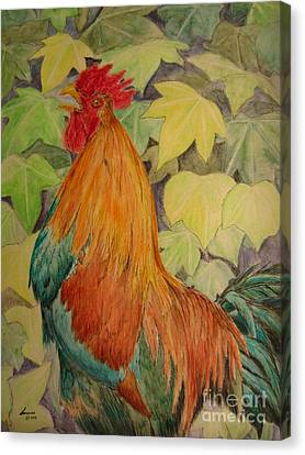 Canvas Print featuring the painting Rooster by Laurianna Taylor