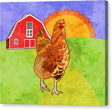 Farm Animal Canvas Print - Rooster by Mary Ogle