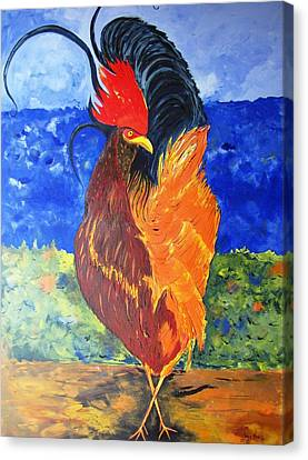Canvas Print featuring the painting Rooster With Attitude by Gary Smith