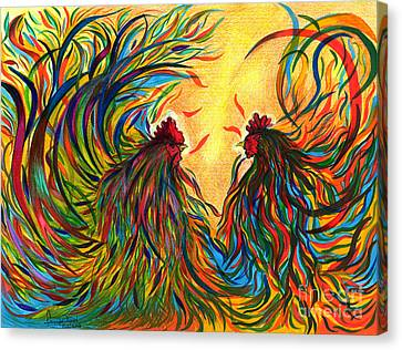 Roosters Frienship Canvas Print by Fanny Diaz