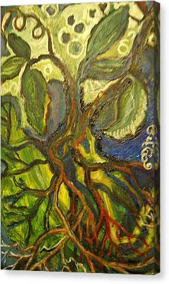Roots And Tendrils Of Living Canvas Print by Susan Brown    Slizys art signature name