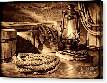 Rope And Tools In A Barn Canvas Print by American West Legend By Olivier Le Queinec
