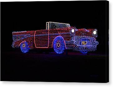 Rope Light Art 1957 Chevy Canvas Print by Thomas Woolworth