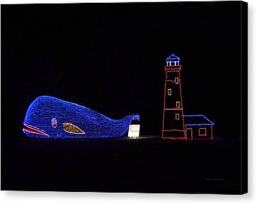 Rope Light Art Whale And Light House Canvas Print by Thomas Woolworth