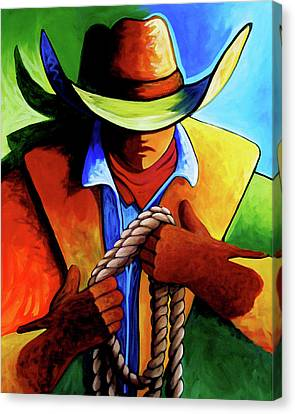 Contemporary Cowgirl Canvas Print - Roper by Lance Headlee