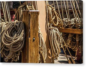 Ropes Aboard A Tall Ship Canvas Print by Dale Kincaid