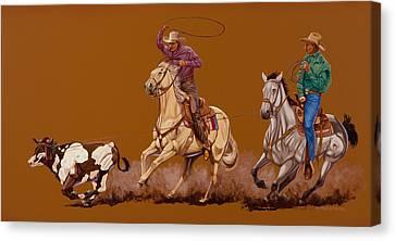 Ropin Pardners Canvas Print by Hugh Blanding