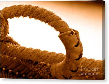 Rawhide Canvas Print - Roping Gear - Sepia by Olivier Le Queinec