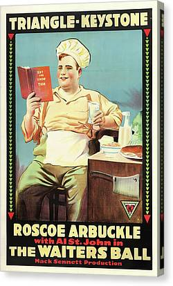 Roscoe Arbuckle In The Waiters Ball 1916 Canvas Print by Mountain Dreams