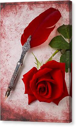 Rose And Feather Pen Canvas Print by Garry Gay